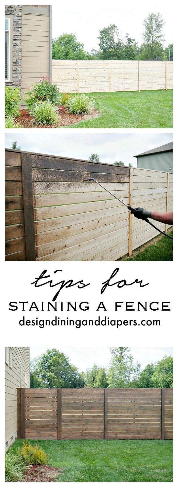 DIY Fence Ideas: DIY Stained Horizontal Plank Fence