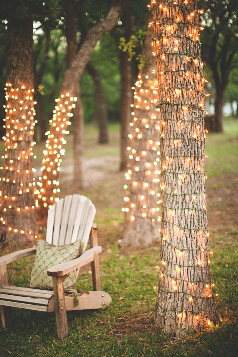 Vintage Garden Decor Ideas: String Lights Wrapped Around Backyard Trees