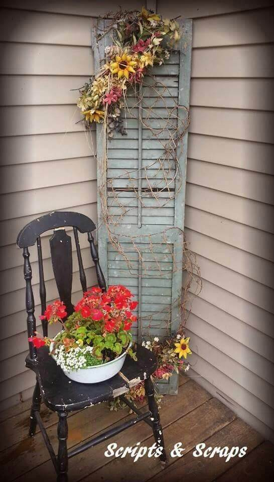 Old Chair, Old Shutter, Fresh Flowers | Vintage Porch Decor Ideas