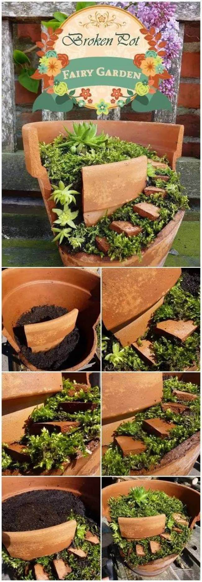 Repurposed Potted Fairy Garden | fairy garden accessories | miniture fairy garden ideas inspiration | homemade fairy garden decorations