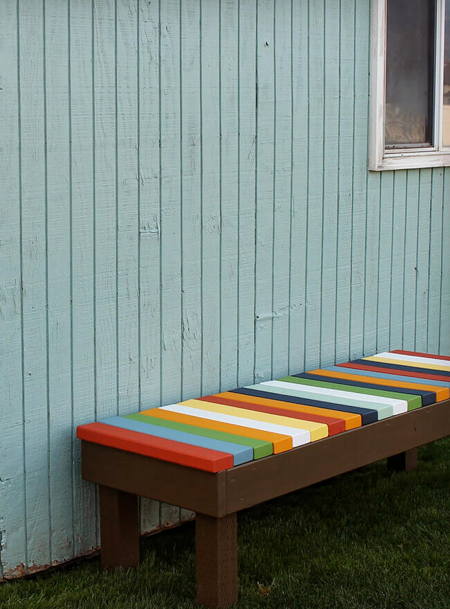 Outdoor DIY Bench Ideas: Colorful Taste of Central America Bench