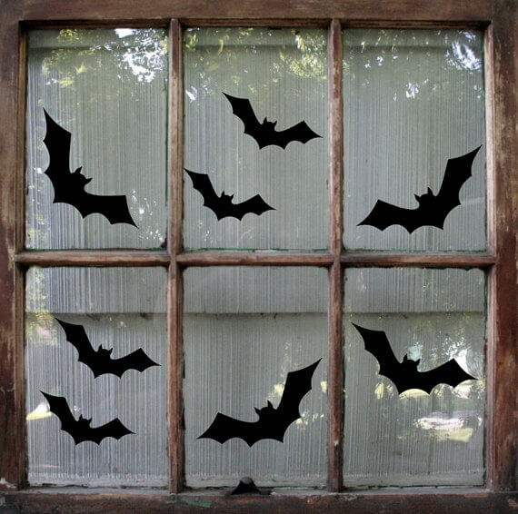 The Bats Attack at Night | DIY Halloween Window Decoration Ideas