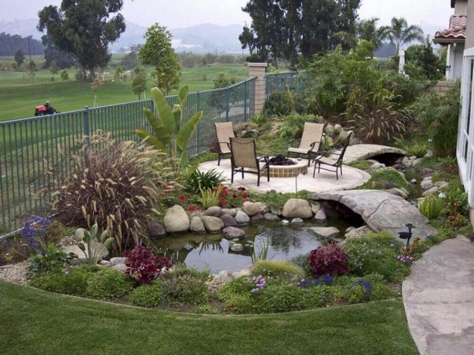 A Relaxing Spot Near a Garden Pond | Awesome Firepit Area Ideas For Your Outdoor Activities