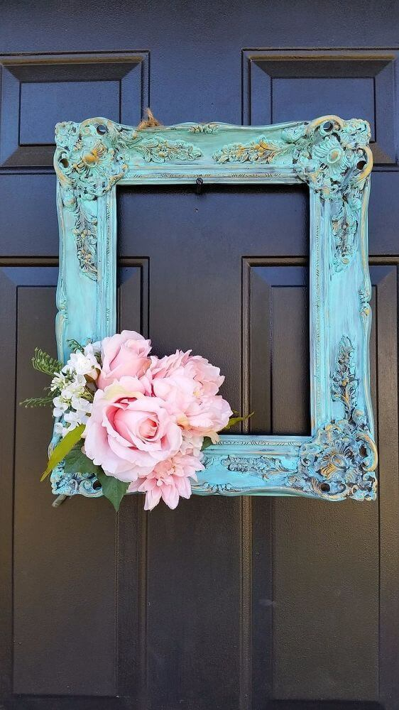 Repurposed Frame and Peonies Door Hanger | Vintage Porch Decor Ideas