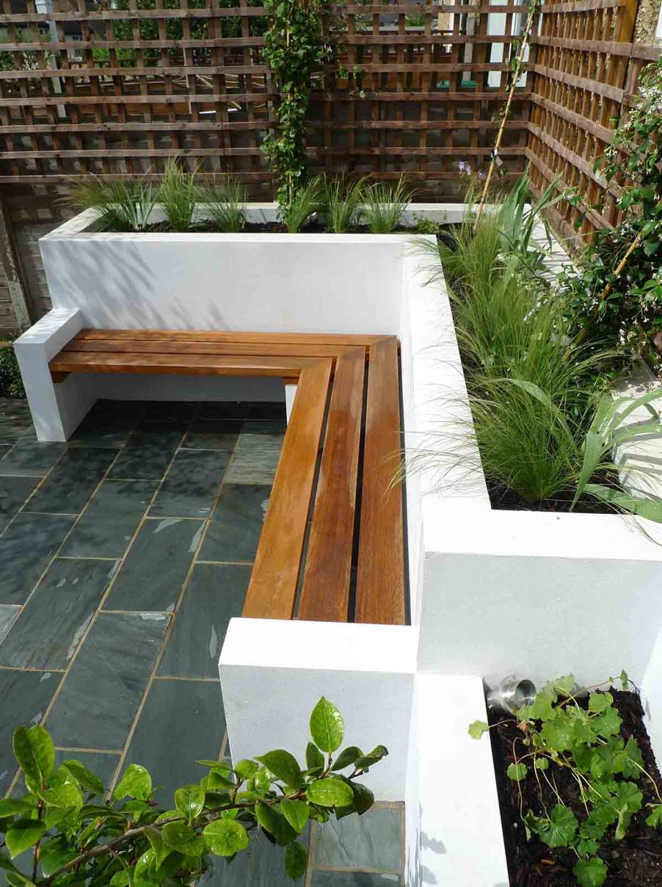 Built-In Patio Planter with Bench