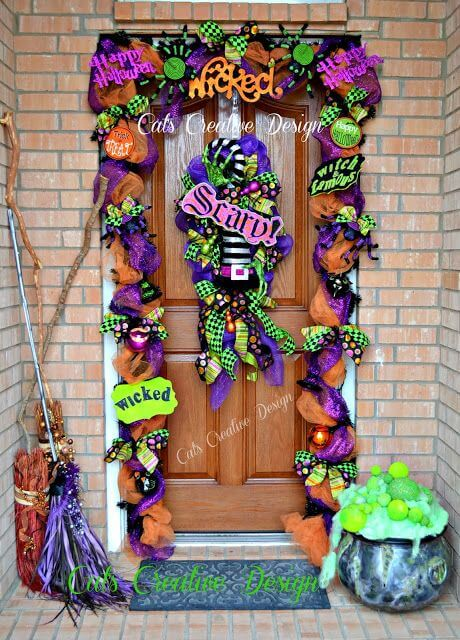 Halloween Door Decoration Ideas: Witch's Wreath