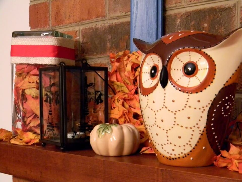 Owls Work Well with Fall Decor | Fall Mantel Decorating Ideas For Halloween