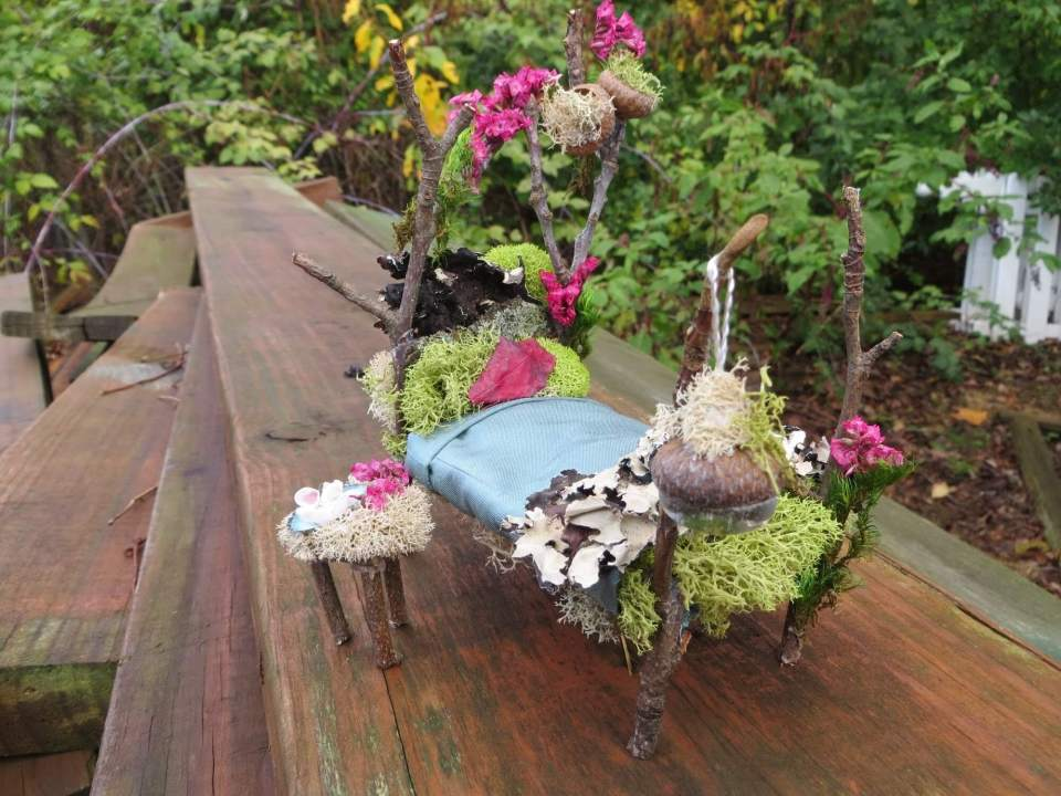Sweet Dreams Forested Fairy Bed | fairy garden accessories | miniture fairy garden ideas inspiration | homemade fairy garden decorations