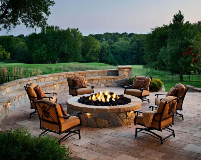 Sandstone Patio Firepit with Rolling Hills | Awesome Firepit Area Ideas For Your Outdoor Activities