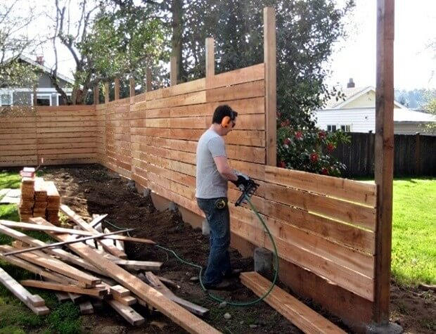 DIY Fence Ideas: Wide Wooden Plank DIY Fence
