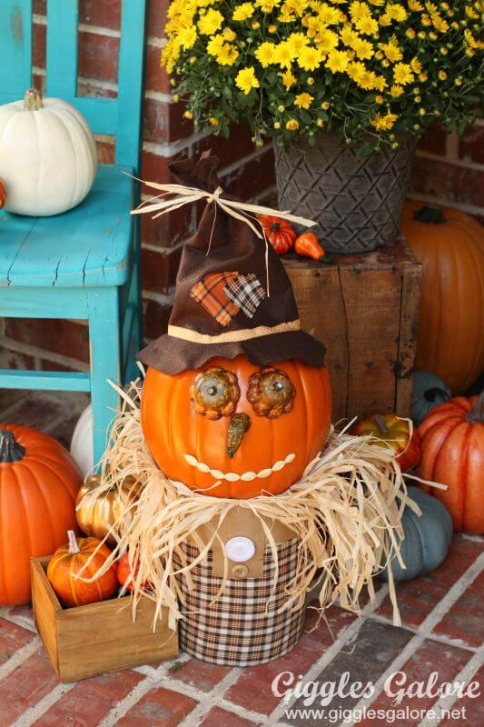 Pumpkin with Personality | Fall Porch Decoration Ideas | Porch decor on a budget