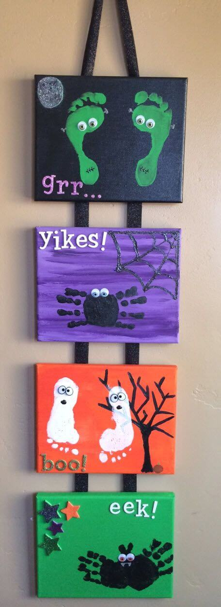 Hand and Footprint Canvases | Fun & Creative DIY Halloween Crafts for Kids