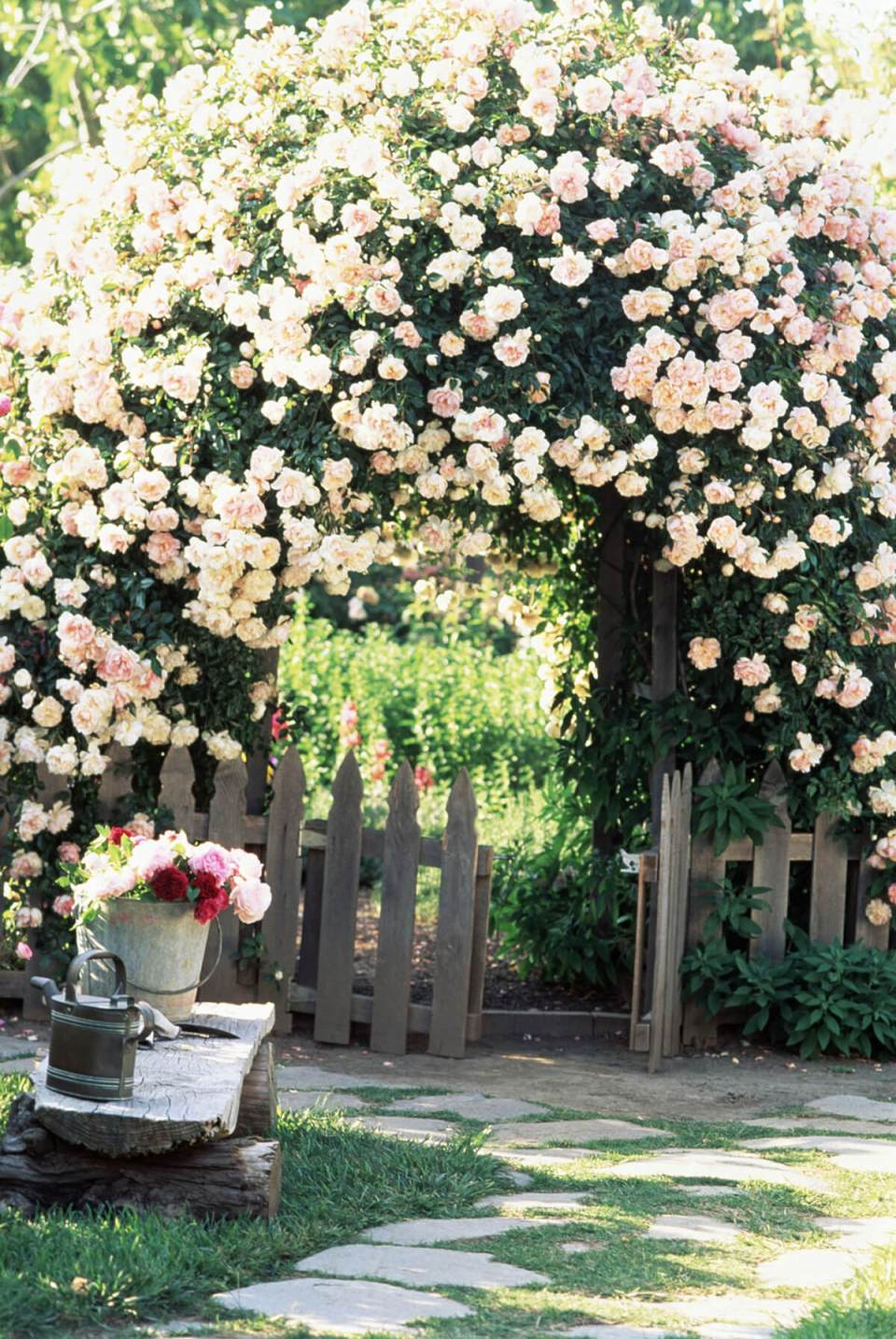 Garden Arch Overflowing with Roses