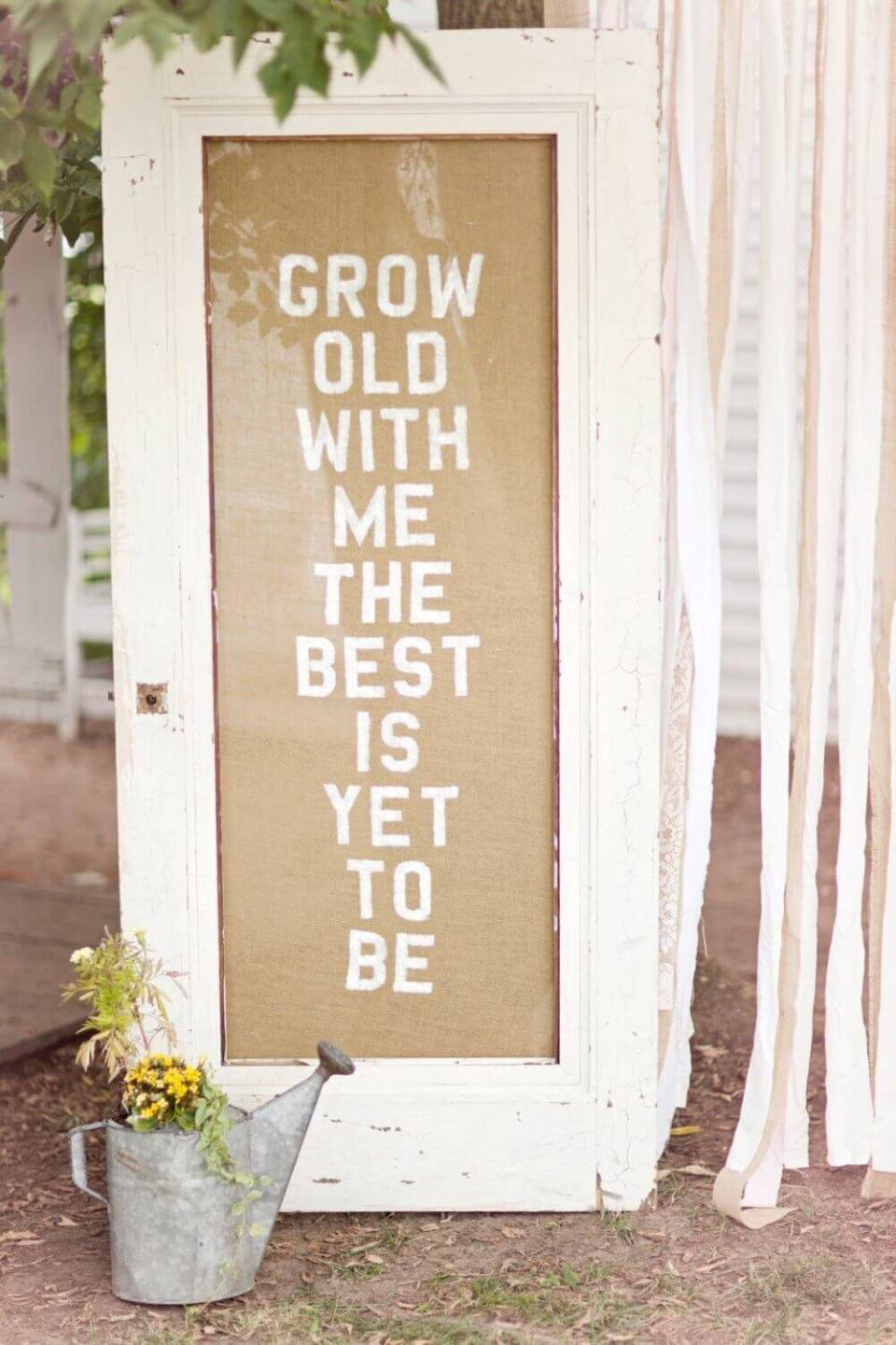 Inspiring Saying Painted on a Door | Creative Repurposed Old Door Ideas & Projects For Your Backyard