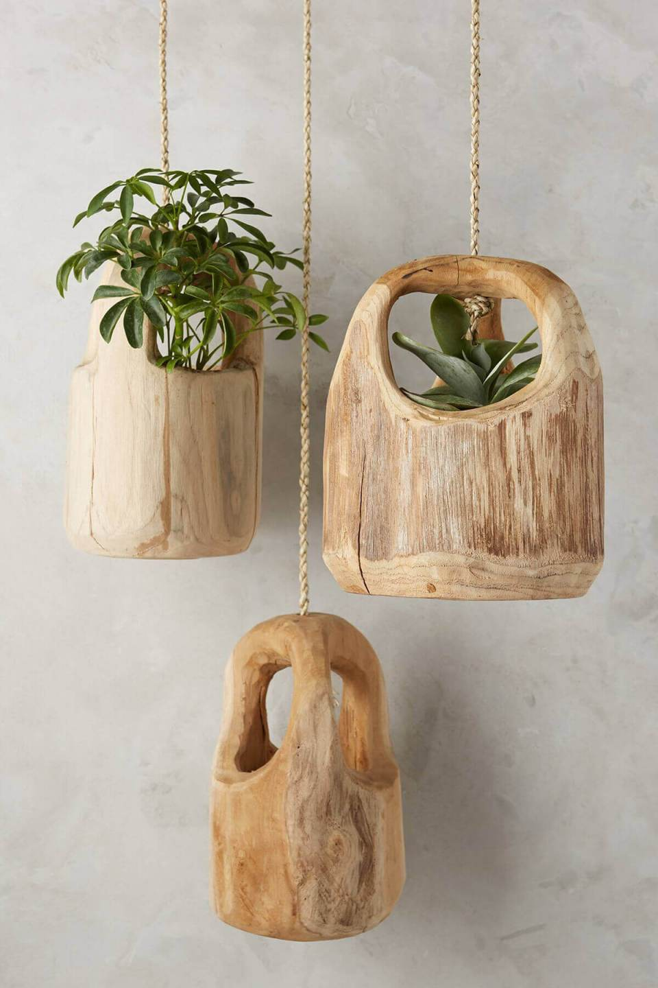 Rustic Carved Wooden Hanging Planters | DIY Outdoor Hanging Planter Ideas | Plant Pot Design Ideas