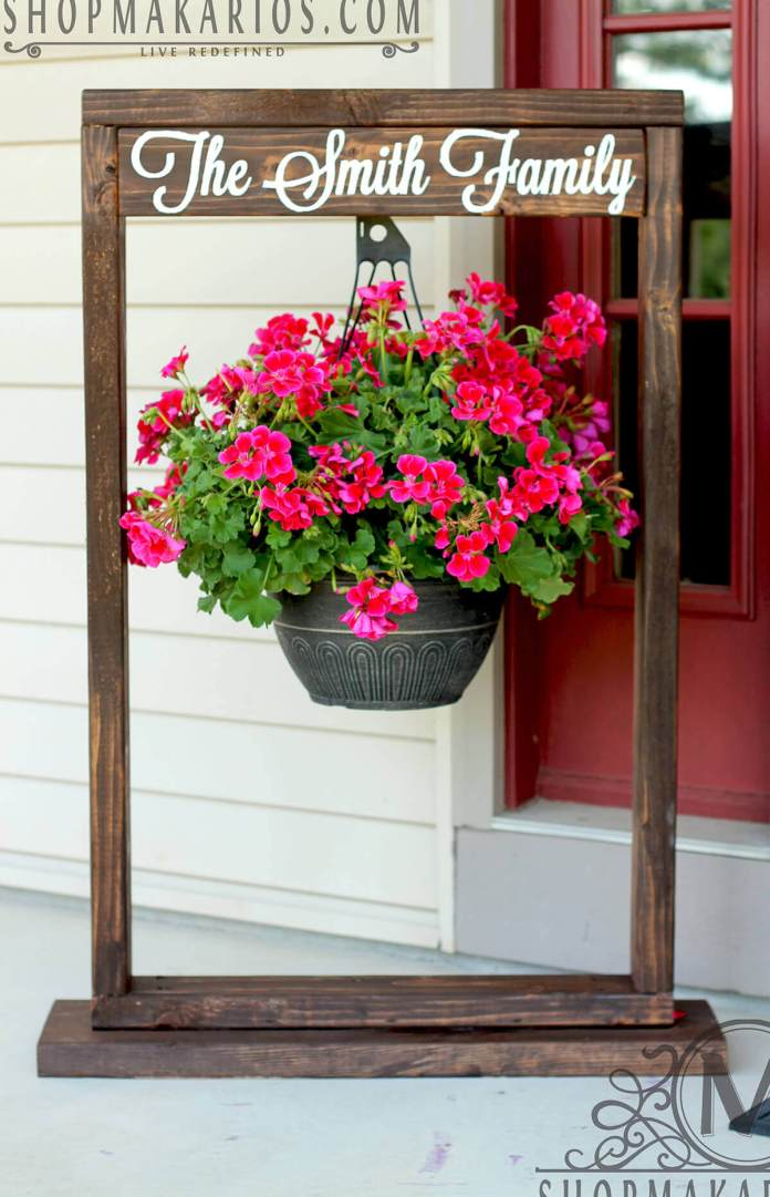 Wooden Entryway Sign and Hanging Flower Pot | DIY Outdoor Hanging Planter Ideas | Plant Pot Design Ideas