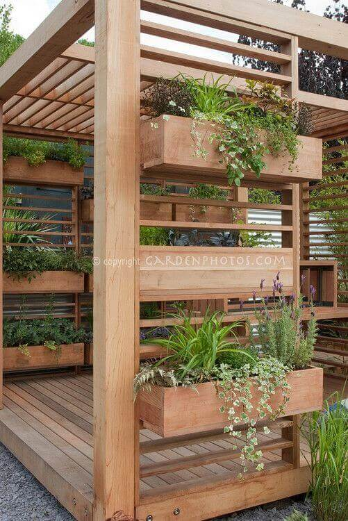 Built-In Tiered Wood Planter Boxes