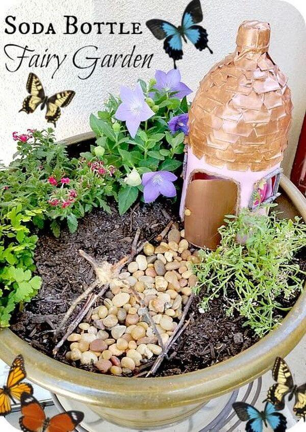 Splendid Soda Bottle Fairy Hut | fairy garden accessories | miniture fairy garden ideas inspiration | homemade fairy garden decorations