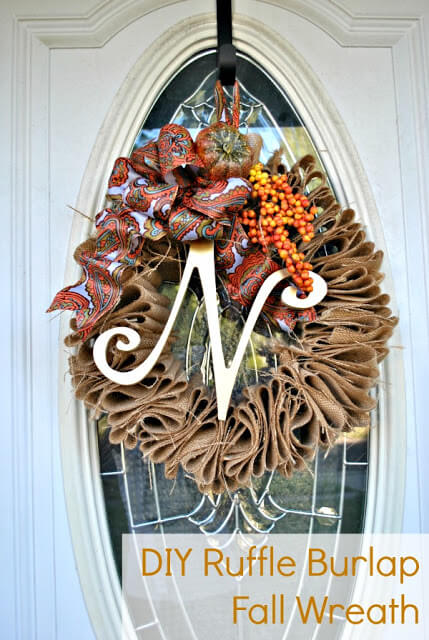 Burlap Fall Wreath for Under $5