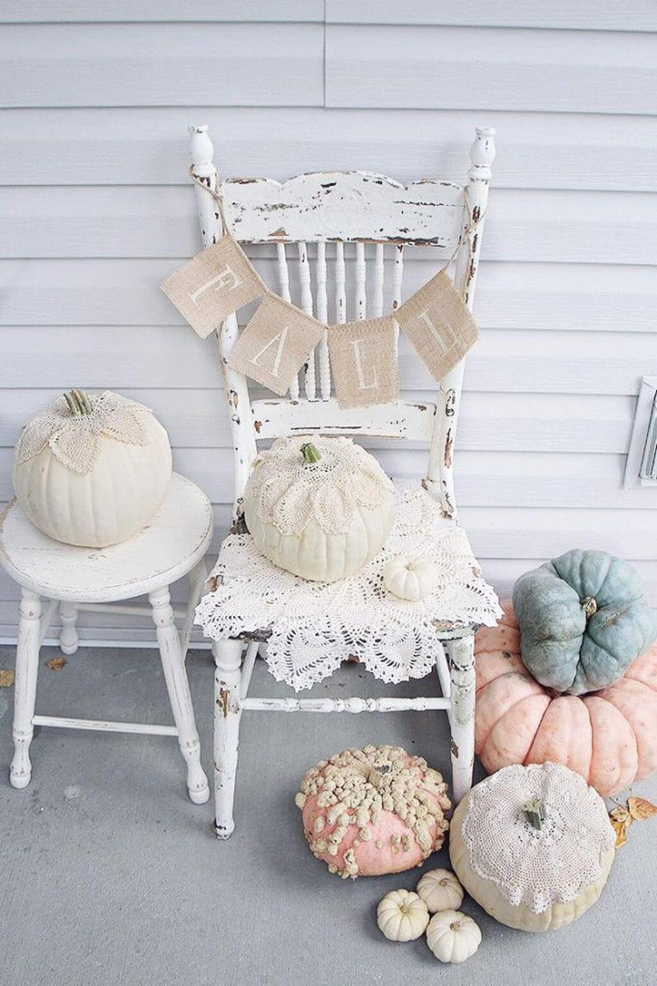 Lovely Old Chair with Romantic Rose Pumpkins | Vintage Porch Decor Ideas