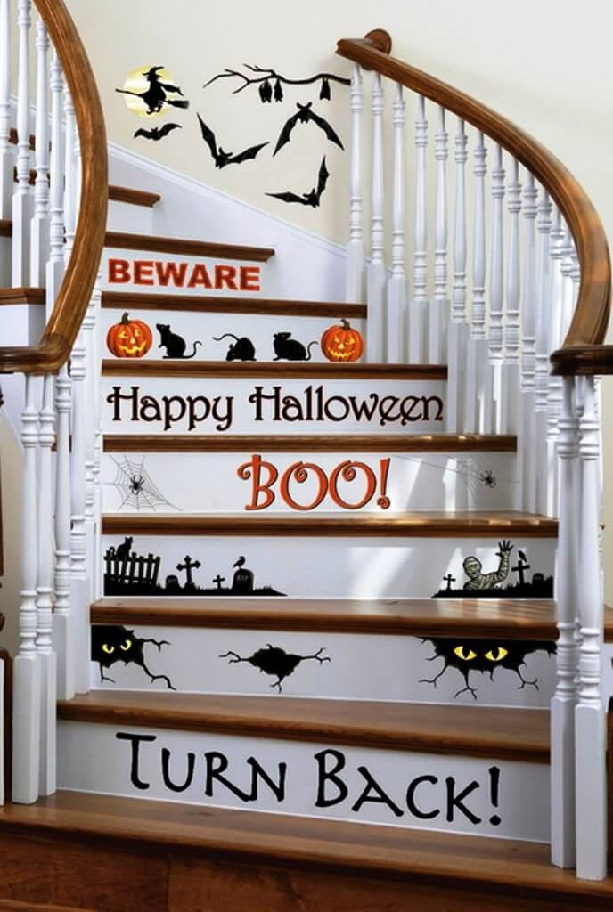 Staircase Decorations Add Cool Feel | DIY Indoor Halloween Decorating Ideas