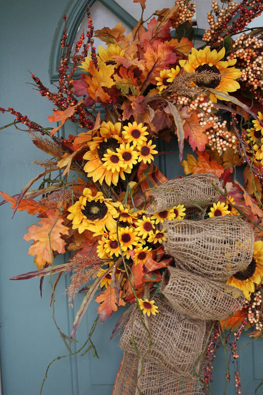 Sunflower and Oak Leaves Wreath