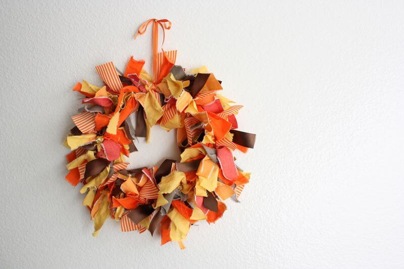 Autumn Fabric Fall Wreath
