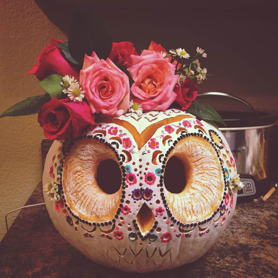 DIY Pumpkin Carving Ideas: Painted Owl