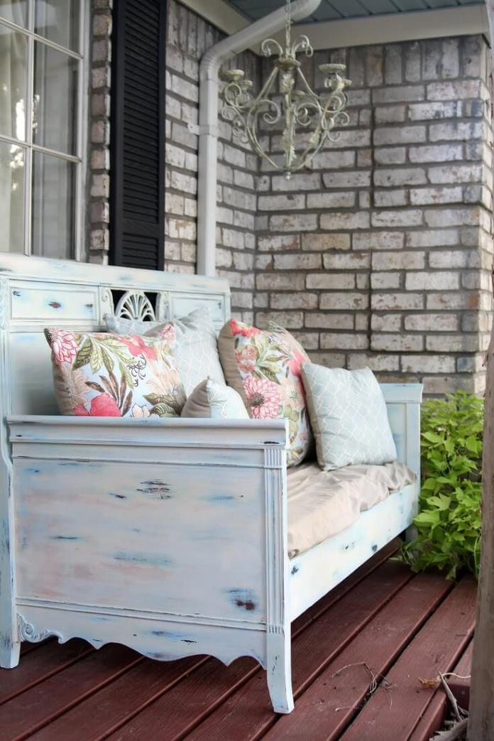 Pretty Patterned Outdoor Staging Area | Vintage Porch Decor Ideas