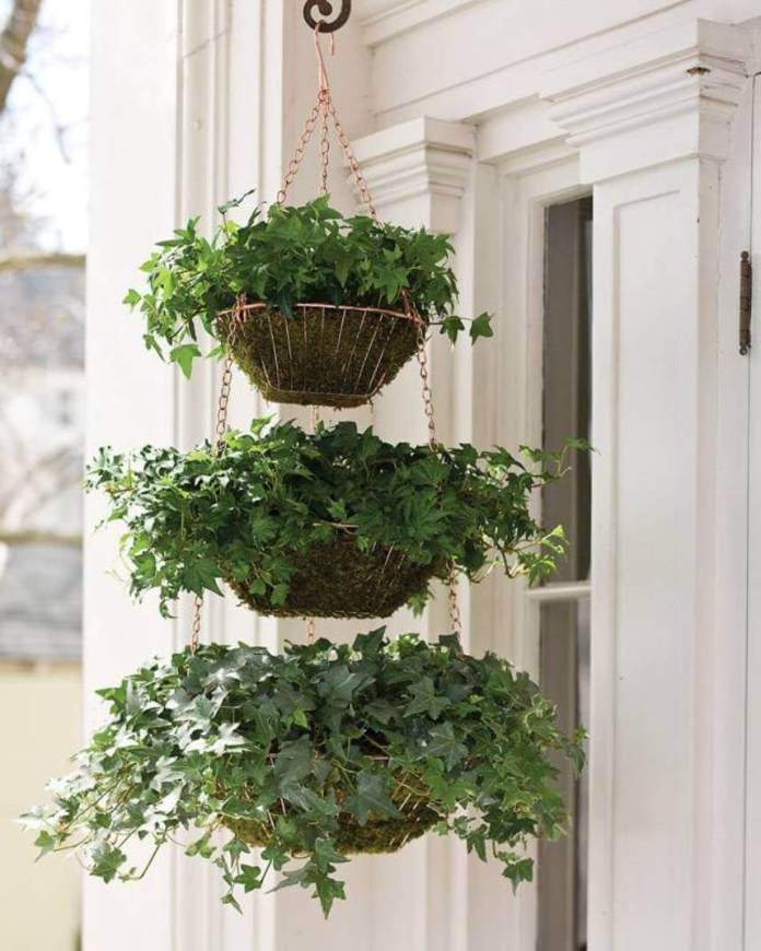 Three Tiered Hanging Ivy Baskets | DIY Outdoor Hanging Planter Ideas | Plant Pot Design Ideas