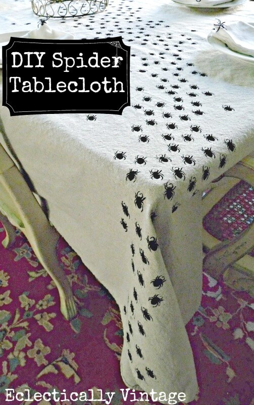 Spiders Swarm on This Tablecloth | DIY Indoor Halloween Decorating Ideas