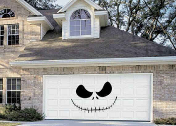 Halloween Door Decoration Ideas: Skellington Halloween Garage
