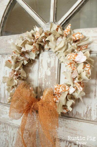 Coat hanger Fall Rag Wreath