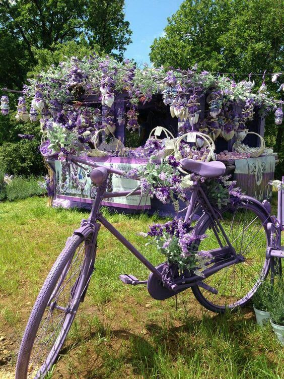 Lavender Bicycle | Bicycle Garden Planter Ideas For Backyards | FarmFoodFamily