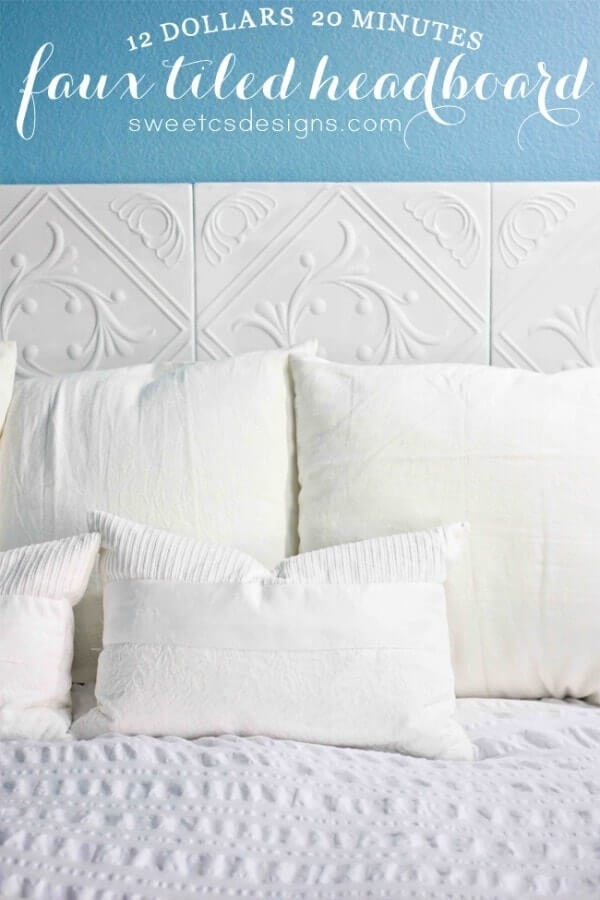 Faux Tiled Headboard | DIY Headboard Decoration Ideas for Bedroom