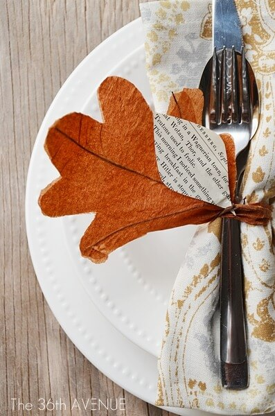 DIY Napkin ring | DIY Fall-Inspired Home Decorations With Leaves - FarmFoodFamily