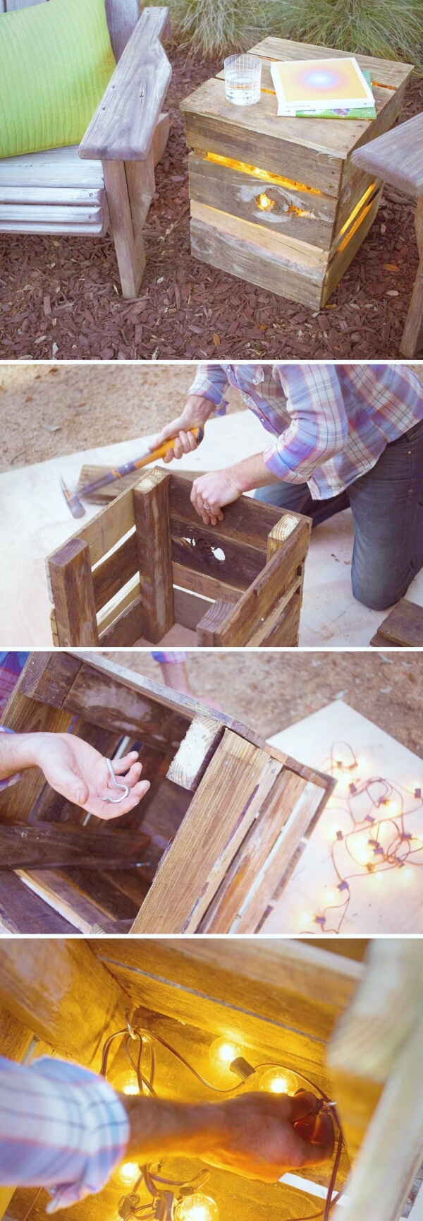 DIY Lights from Recycled Pallet | Creative DIY Garden Lantern Ideas - FarmFoodFamily.com