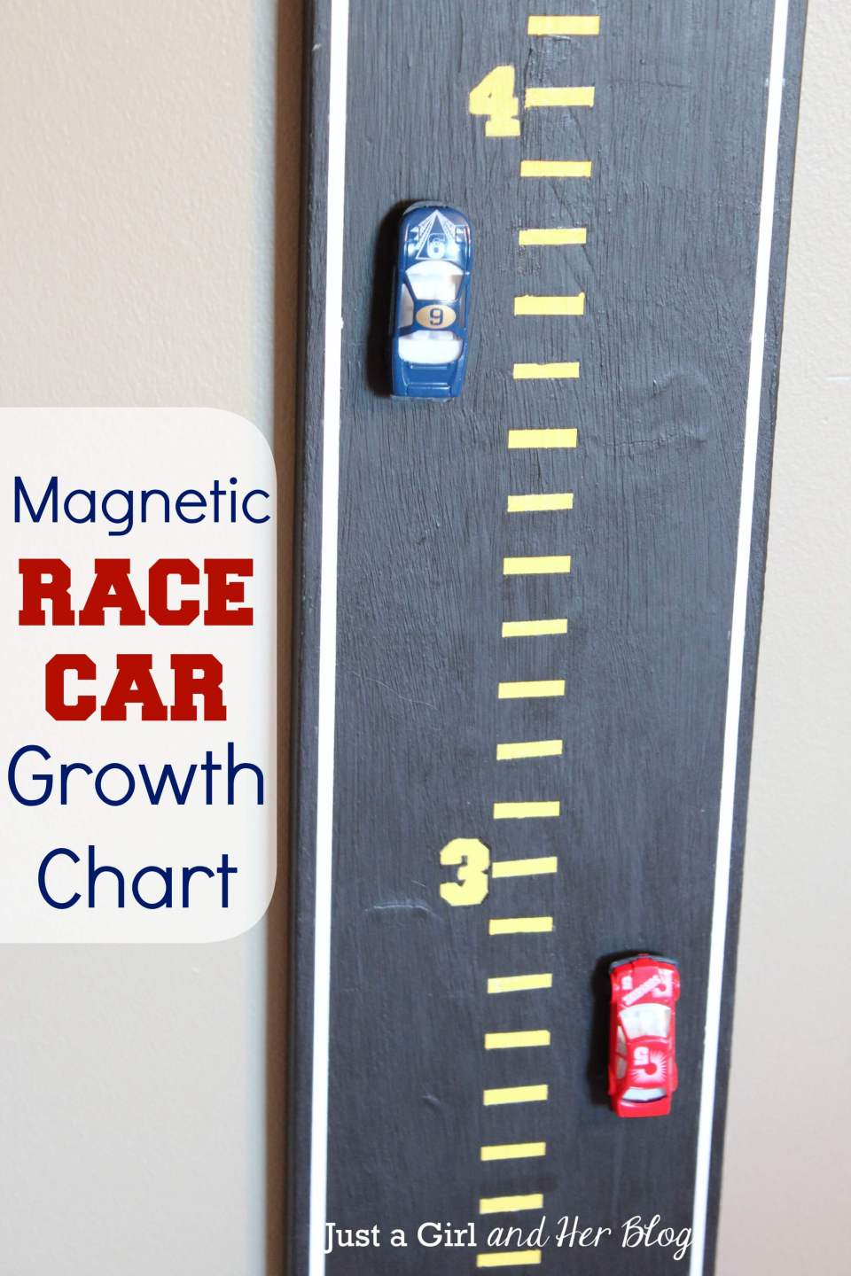 Magnetic race car growth chart | DIY Race Car Tracks for Kids - FarmFoodFamily