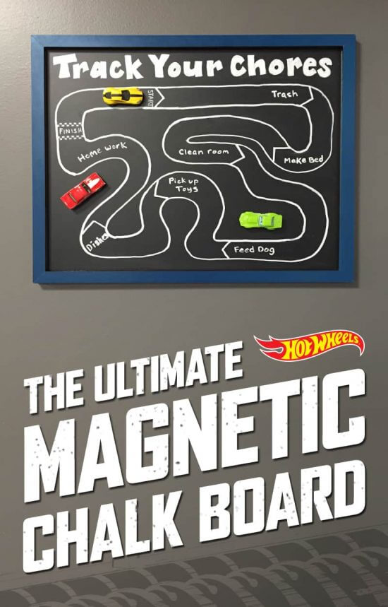 Magnetic Chalk board | DIY Race Car Tracks for Kids - FarmFoodFamily