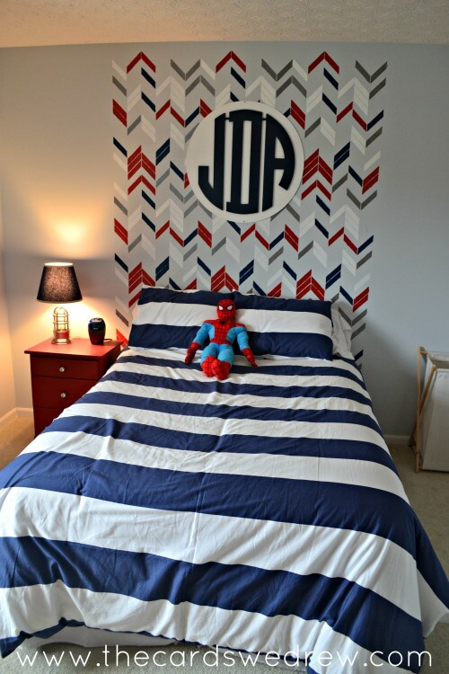 Herringbone Stenciled Headboard With Wall Monogram | DIY Headboard Decoration Ideas for Bedroom