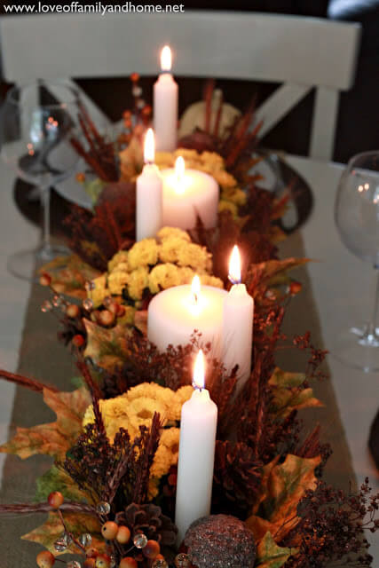 Teal & Yellow Fall Tablescape | Best DIY Fall Centerpiece Ideas | FarmFoodFamily.com
