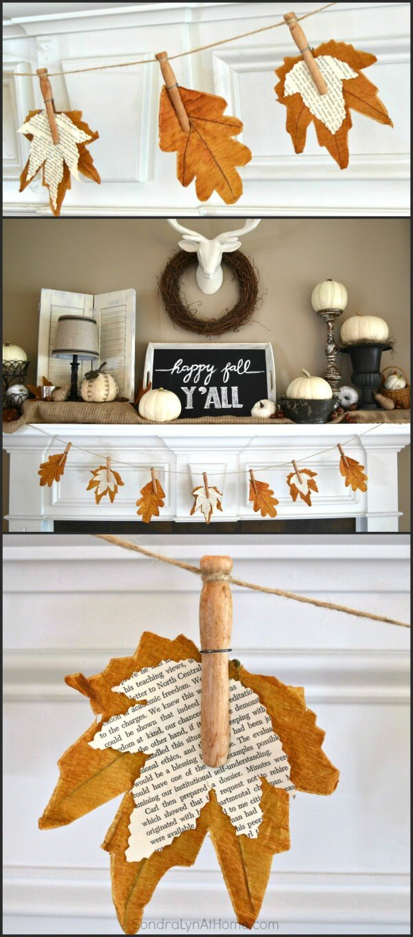 Fall banner with book page leaves | DIY Fall-Inspired Home Decorations With Leaves - FarmFoodFamily