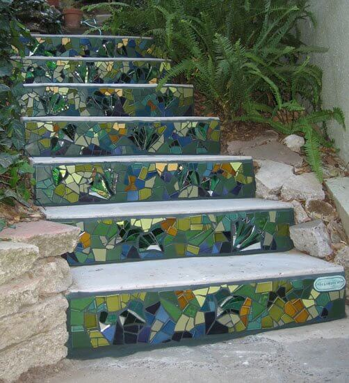 Mosaic Garden Stair | Creative Garden Step & Stair Ideas | FarmFoodFamily