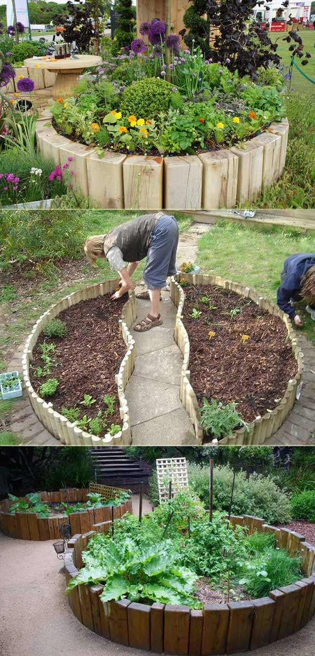 Veggie Garden without digging | Cool Round Garden Bed Ideas For Landscape Design - FarmFoodFamily.com #raisedgarden #raisedgardenbed #gardenbed