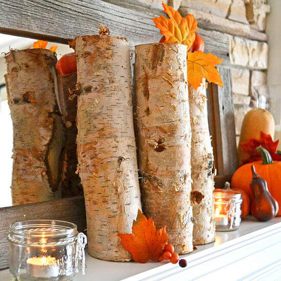 Fall-Inspired Mantel with Earthy Accents | DIY Fall-Inspired Home Decorations With Leaves - FarmFoodFamily