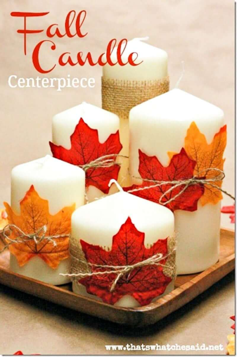 Fall Candle Centerpiece | DIY Fall-Inspired Home Decorations With Leaves - FarmFoodFamily