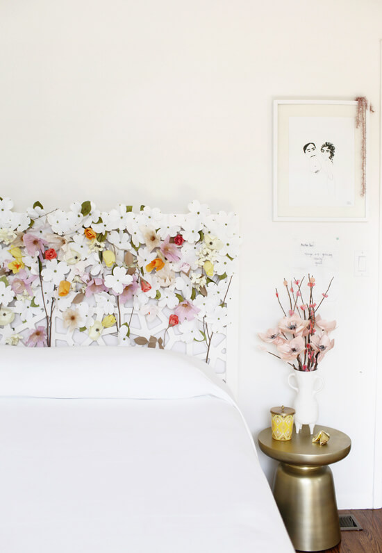 Floral Headboard | DIY Headboard Decoration Ideas for Bedroom