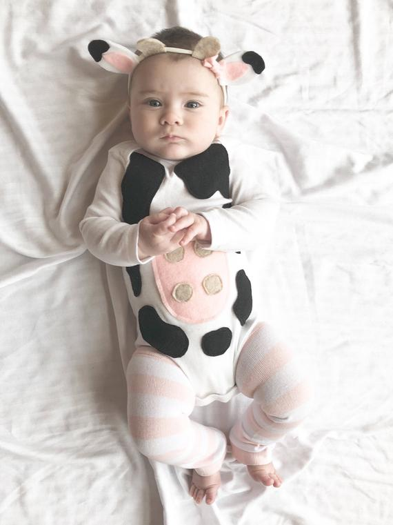 Baby Girl Halloween Cow Costume | Animal Halloween Costumes for Kids, Adults - FarmFoodFamily.com