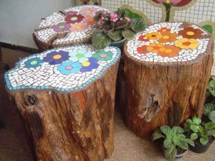 Mosaic Tree Stump Table | Tree Stump Decorating Ideas | How To Decorate a Tree Stump In Landscape