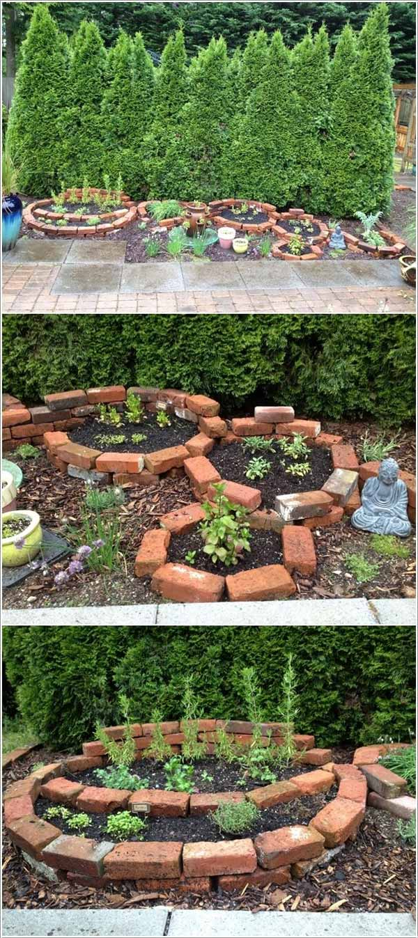 Brick Garden Bed | Cool Round Garden Bed Ideas For Landscape Design - FarmFoodFamily.com #raisedgarden #raisedgardenbed #gardenbed